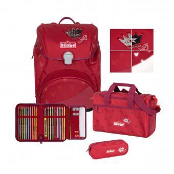 Scout Alpha Premium, 4-teilige Schulranzen-Set 2020/2021 Red Princess