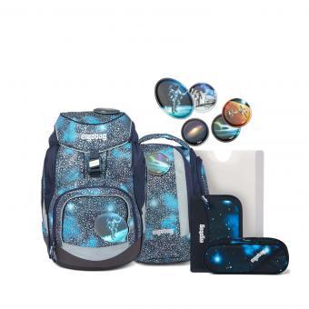 ergobag pack SUPER REFLEX GLOW-Edition, Schulrucksack-Set, 6-tlg. Bär Anhalter durch die Galaxis