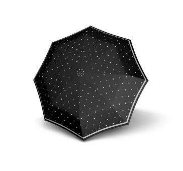 Knirps T.200 Medium Duomatic Automatischer Taschenschirm reflektierend Reflective Dots Black