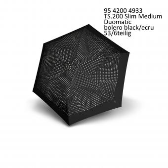 Knirps TS.200 Slim Medium Duomatic Automatischer schmaler Taschenschirm bolero black ecru