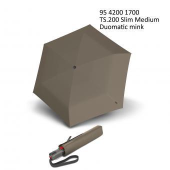 Knirps TS.200 Slim Medium Duomatic Automatischer schmaler Taschenschirm mink