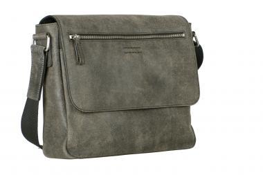 Leonhard Heyden Boston Leder-Umhängetasche M 5227 mit Tabletfach grau/braun
