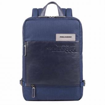 Piquadro Ade Großer Laptoprucksackaus recyceltem Stoff blau