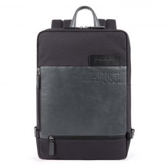 Piquadro Ade Großer Laptoprucksackaus recyceltem Stoff schwarz
