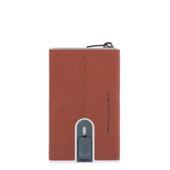 Piquadro Black Square Compact Wallet für Kreditkarten mit Schiebesystem cuoio tabacco