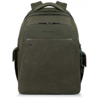 "Piquadro Black Square Laptoprucksack 15"" mit CONNEQU-Anhänger grün"