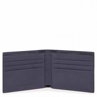 Piquadro Black Square Schmale Herrenbrieftasche mit RV-Münzfach oceanblau