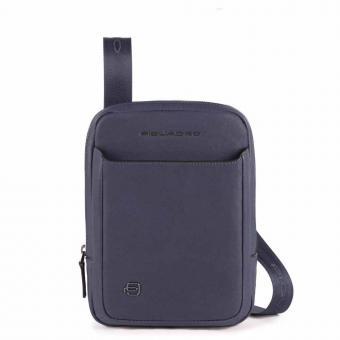 Piquadro Black Square Umhängetasche mit iPad® Mini-Fach aus Leder oceanblau
