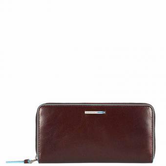 Piquadro Blue Square Damengeldbörse mit Reißverschluss, Münz- und Kreditkartenfach mahagoni