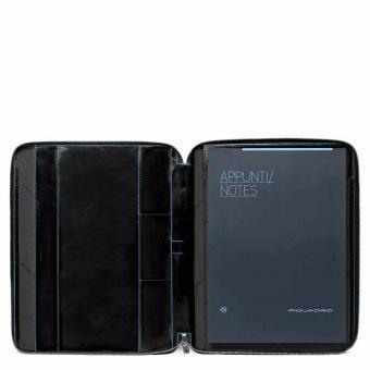 Piquadro Blue Square Schmale Schreibmappe aus Leder im A4-Format mit Reißverschluss und Stiftschlaufe Schwarz