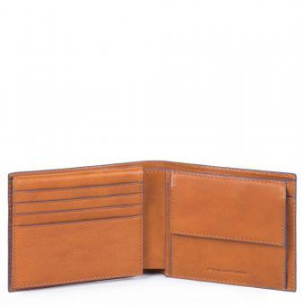 Piquadro Blue Square Special Herrenbrieftasche mit Klapp-Ausweisfenster cuoio tabacco