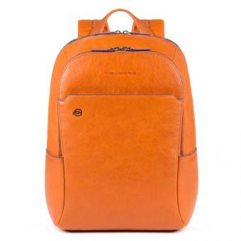 Piquadro Blue Square Special Kleiner Rucksack aus fluoreszierendem Leder Orange