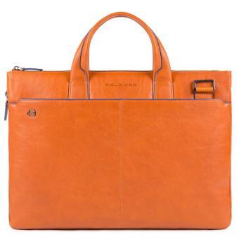 Piquadro Blue Square Special Schmale Leder-Aktentasche mit zwei Griffen Orange
