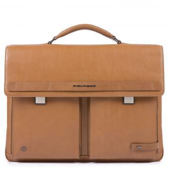 Piquadro Cube Laptoptasche mit zwei Verschlüssen und iPad®10,5''/15,6 Zoll-Fach lohfarben