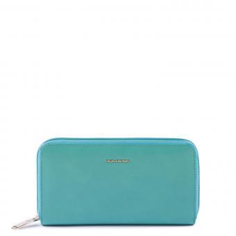 Piquadro Damenbörse mit Münzfach und Kreditkartenfach, RFID-Blocker verde acqua