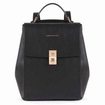 Piquadro DF Ausdehnbarer Damenrucksack mit iPad®Pro 12,9''- schwarz