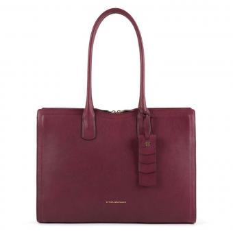 Piquadro Gea Große Damenlaptoptasche mit Anti-Stoss Schutz burgundy