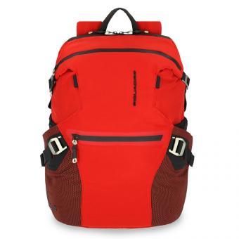 "Piquadro Laptoprucksack 15,6"" aus rezykliertem antiviralen Stoff Rot"