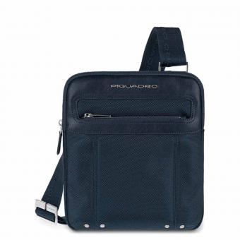 Piquadro Link Umhängetasche flach mit Inneneinteilung mit Tabletfach blue