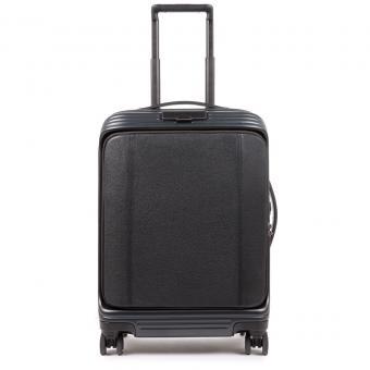 Piquadro PiQ Biz EXECUTIVE Kabinenlaptoptrolley mit Vortasche, 4-Rollen und erweiterbar schwarz