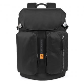 """Piquadro PQ-Bios Laptoprucksack 15,6"""", Überschlag und zwei Fronttaschen schwarz"""