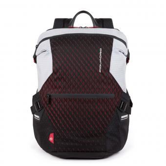 """Piquadro PQ-Y Laptoprucksack 14"""" mit iPad®-Fach, Schrim- oder Flaschentasche grau/rot"""