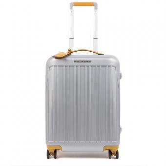 Piquadro Relyght Plus Ultra Slim Hartschalentrolley in Handgepäckgröße mit CONNEQU Grau/Gelb