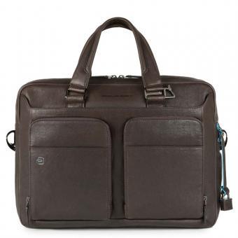 Piquadro Black Square Kurzgrifflaptoptasche 15´´ mit Tabletfach und CONNEQU dunkelbraun