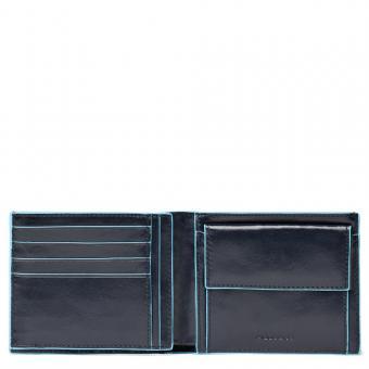 Piquadro Blue Square Herrengeldbeutel mit Kleingeld- und Dokumentenfach Nachtblau