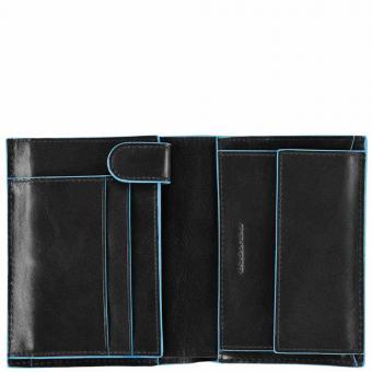 Piquadro Blue Square Hochformatbörse mit Hartgeldfach, Kreditkartenfächern und zwei Innenklappen Schwarz