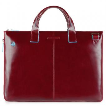 "Piquadro Blue Square Schmale, erweiterbare Laptoptasche 15.6"" mit Tabletfach Rot"