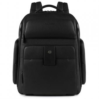 Piquadro ILI Laptoprucksack mit iPad®Air/Pro 9,7-Fach, Regenschirm- una Flaschentasche schwarz