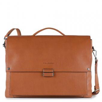 Piquadro Kolyma Große Laptoptasche mit Überschlag und iPad®Air/Pro 9,7-Fach cuoio tabacco
