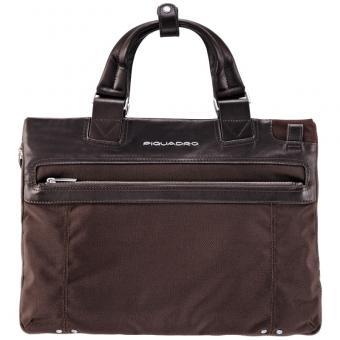 Piquadro Link Erweiterbare Laptoptasche schmal dark brown