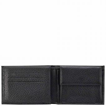 Piquadro Modus Herrenbrieftasche mit Portemonnaie, Kreditkartensteckfächern und Dokumentenfach black