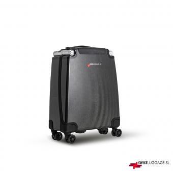 SwissLuggage SL Cabin Suitcase 55cm 4R Black/Silver