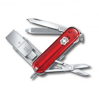 Victorinox Kleines Taschenmesser Victorinox@work mit UBS-Stick rot tranparent