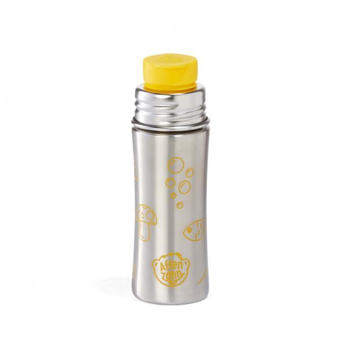 Edelstahl Trinkflasche Tiger Silber/Gelb