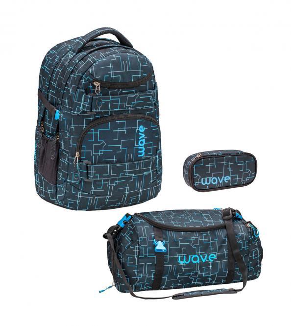 Schulrucksack Set 3-teilig 2020 Cubic Neon Blue