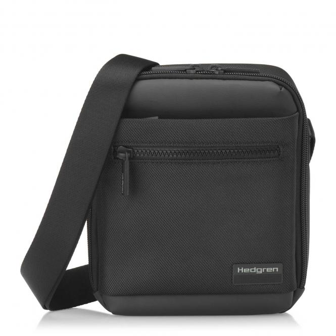 """Vertical Crossover Pouch, RFID, 7""""  Black"""