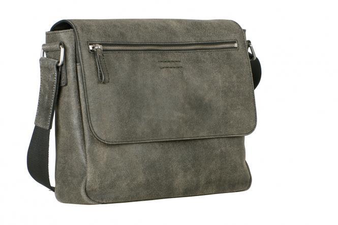 Leder-Umhängetasche M 5227 mit Tabletfach grau/braun