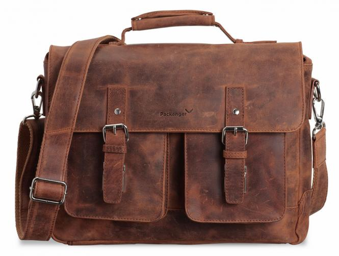 """Umhängetasche Messenger Bag 15"""" Cognac Braun"""