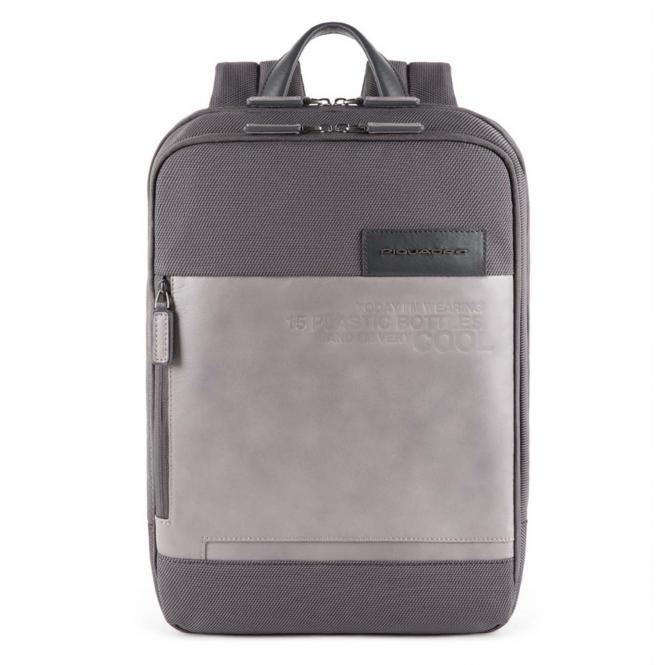 Laptoprucksack aus recyceltem Stoff grau