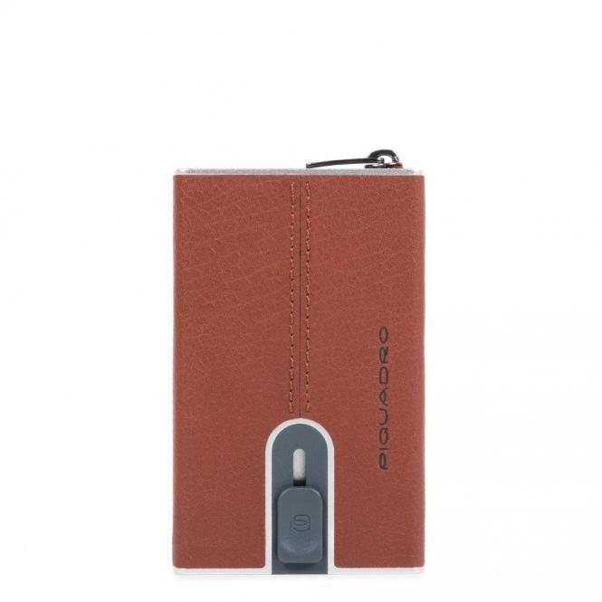 Compact Wallet für Kreditkarten mit Schiebesystem cuoio tabacco