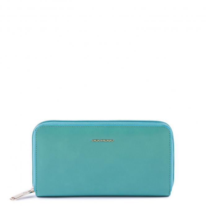 Damenbörse mit Münzfach und Kreditkartenfach, RFID-Blocker verde acqua