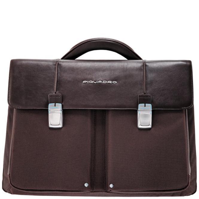 Laptoptasche mit zwei Fächern dark brown