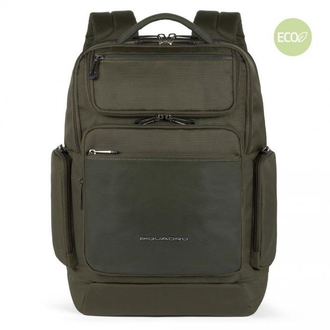 "Fast-check Laptoprucksack 15,6"" aus Leder und recyceltem Olivgrün"