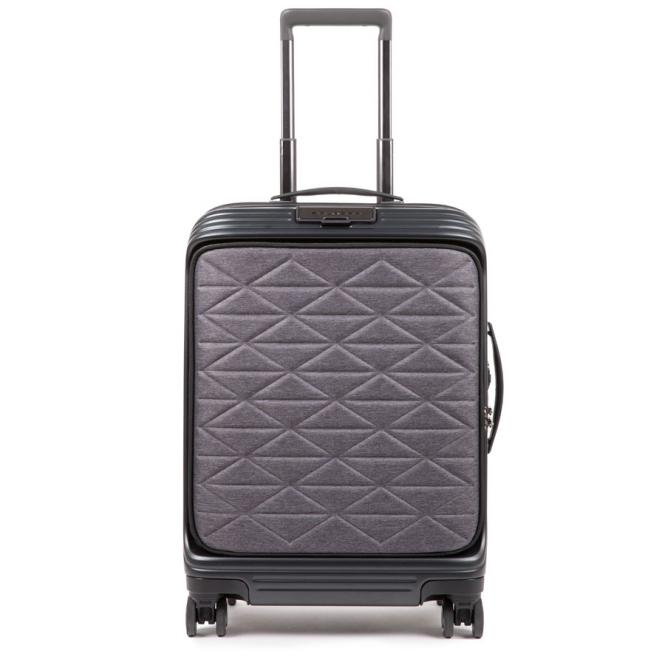 DESIGN Kabinenlaptoptrolley mit Vortasche, 4-Rollen und erweiterbar schwarz