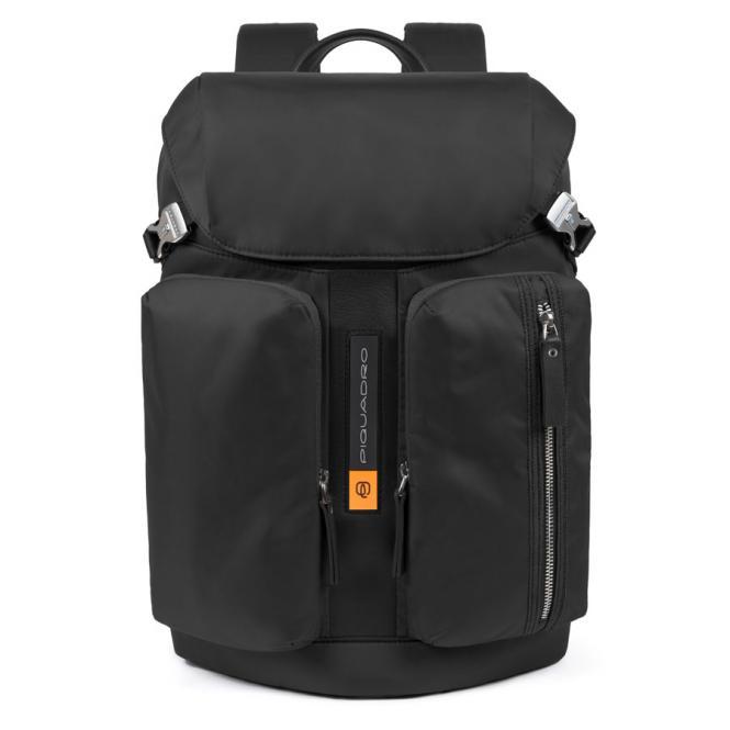 """Laptoprucksack 15,6"""", Überschlag und zwei Fronttaschen schwarz"""