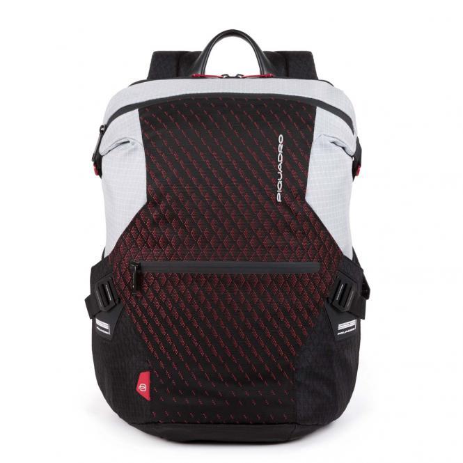 """Laptoprucksack 14"""" mit iPad®-Fach, Schrim- oder Flaschentasche grau/rot"""